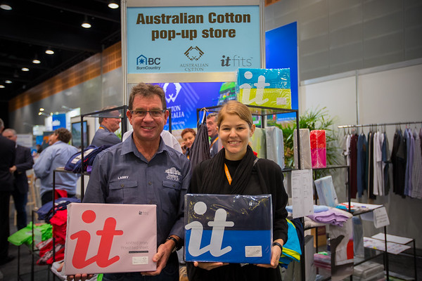 Grower meets end-user. Traced from Larry Walsh's farm in Coleambally, Southern NSW, to Kathrin Bickel's (brand: itfits) 100% Australian cotton sheets. Photograph at the Cotton Australia 2016 Australian Cotton Conference stand.