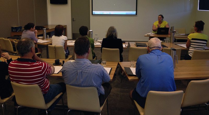 Growers at WHS training at Dalby, 06.10.15, Cotton Australia staff member Bec Fing presenting