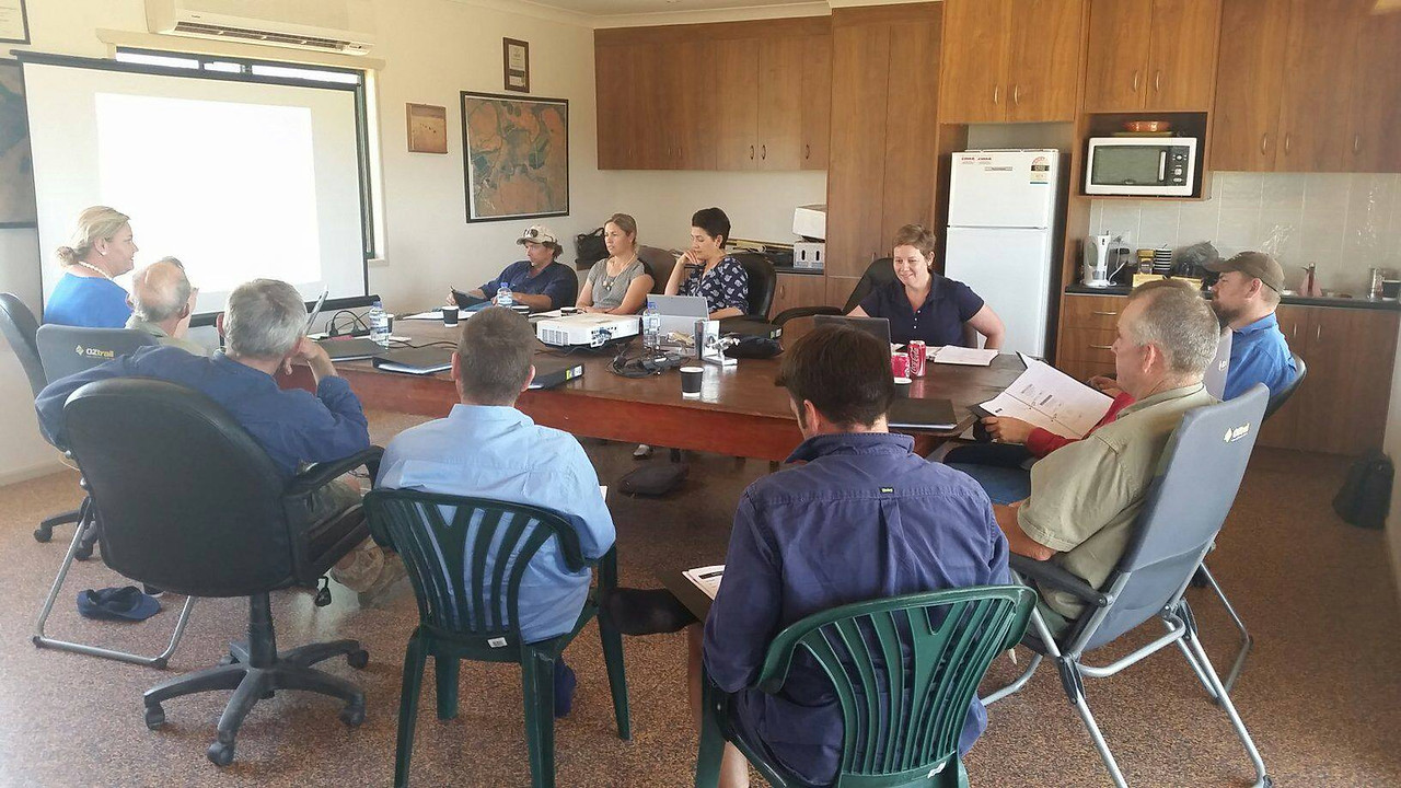 Growers at WHS training at Comet 03.11.15 - Cotton Australia staff member Bec Fing presenting. myBMP