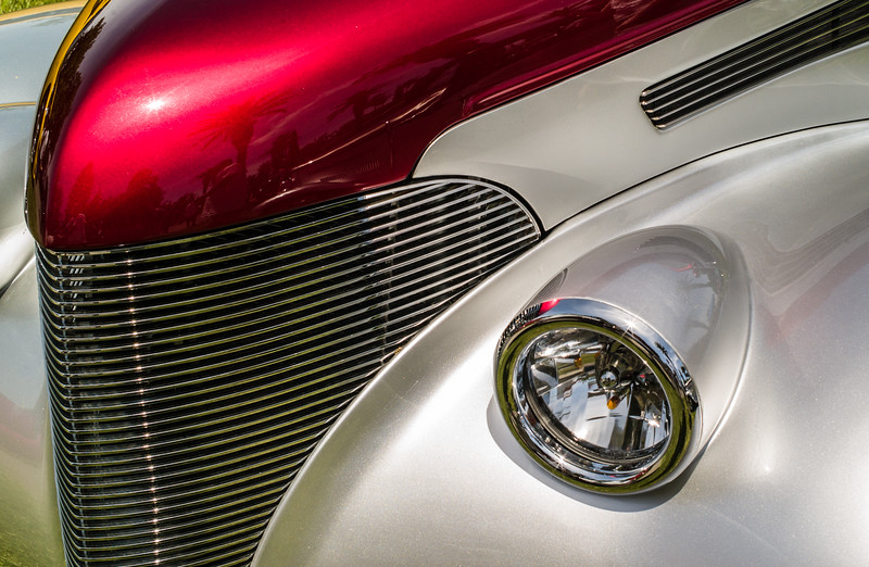 Red and silver antique car