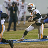 Tyrus Townsend (6) of Fuquay-Varina runs the ball around end. The Fuquay-Varina Bengals visited the Wake Forest Cougars in the 2nd round of the 4AA NCHSAA football championship playoffs played on Friday, November 23, 2018. Photo by Dean Strickland, O. D..