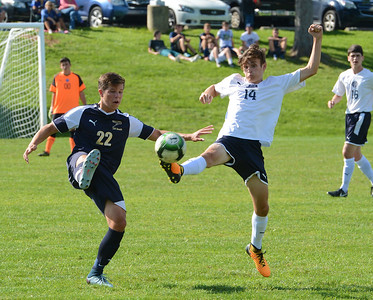 Jess Moldovsky (14) and Dan Maggio (22) perform soccer ballet.