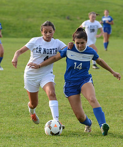 Madison Nusca (4) tries to get by Bensalem opponent.