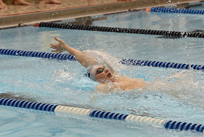 Derrick Lukomski-Pizzo swims in the 200 backstroke.