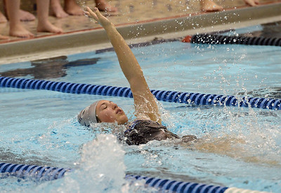 Alexa Schnur swims in the 200 backstroke.