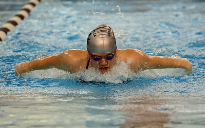 Jackie Koo swims butterfly for 200 relay.