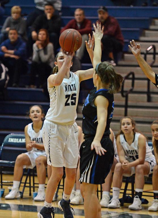. Olivia Boyle (25) lines up a three-pointer.