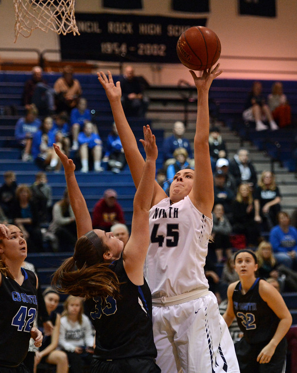 . Council Rock North\'s Mackenzie Tinner (45) scores two for the Lady Indians.