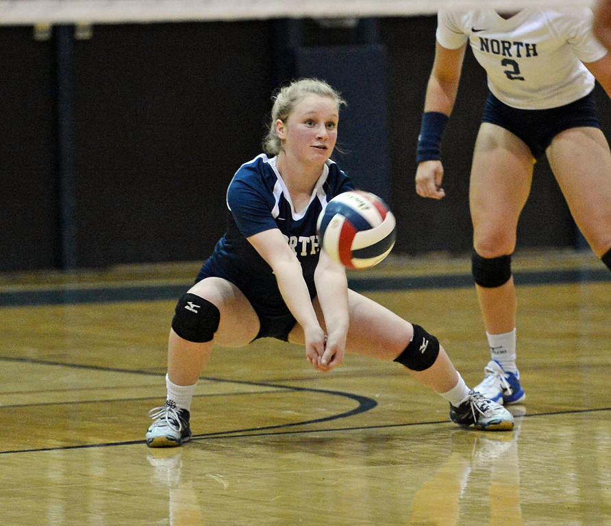 . Council Rock North\'s Grace Schweizer (8) goes for a dig.