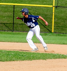 Council Rock North pinch-runner Alan Browning takes a lead off second base in District 1-AAAA semifinal win over the Whippets May 31 at Methacton High's Robert Morris Childress Field.