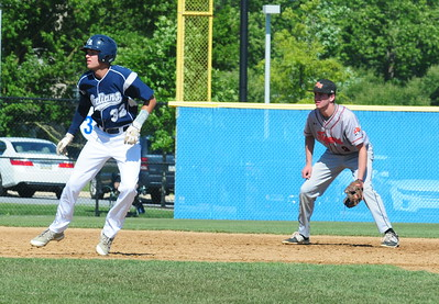Council Rock North senior Jackson Parker (#32), left, takes a lead off second base in the state quarterfinal matchup with Marple-Newtown June 9 at Immaculata University.