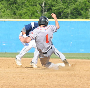 Tigers pinch-runner Reilly Fillman (#1) slides into second base in PIAA quarterfinal battle against Marple Newtown Thursday, June 9 at Immaculata University.
