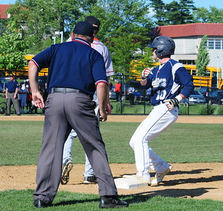Council Rock North infielder Cavan Tully gets back to first base in time in the state quarterfinal matchup with Marple-Newtown June 9 at Immaculata University.