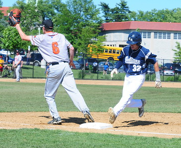 Council Rock North senior Jackson Parker (#32), right, gets back to first base in time in the state quarterfinal matchup with Marple-Newtown June 9 at Immaculata University.