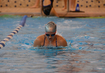 Katie Erlandsen swims for North's winning medley relay team.