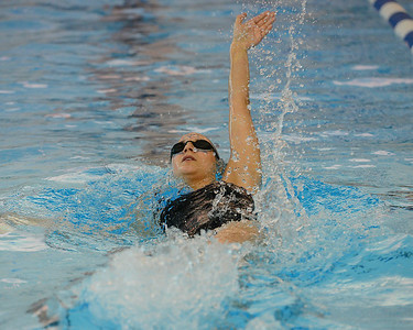 Julia Goroshko swims backstroke leg of medley relay for Rock North.