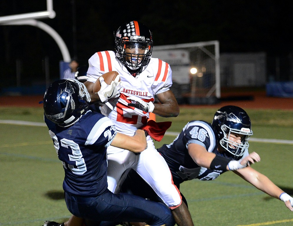 . Rock North seniors Kevin Gibson (#23) and Mason Luff (46) can\'t stop Jadan Hudson (23) from scoring for Coatesville.