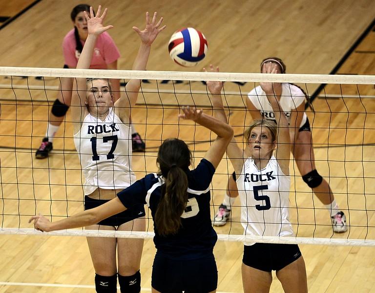 Council Rock South's Hannah Sullivan (17) and Celina Varian (5) get set to block Dana Bandurick's (19) shot.