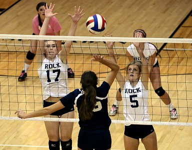 Council Rock South's Hannah Sullivan (17) and Celina Varian (5) get set to block Dana Bandurick's (19) shot.