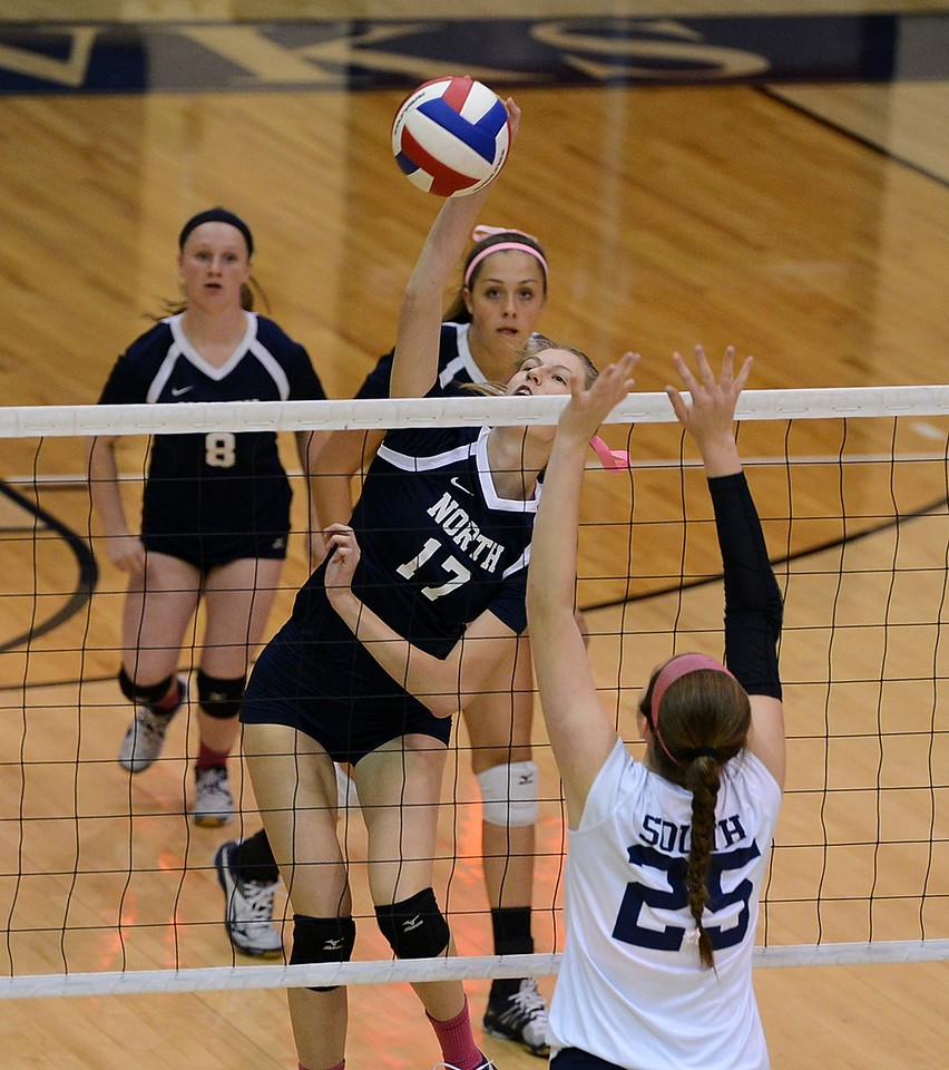 Hadley Grundman (17) goes for a kill shot.