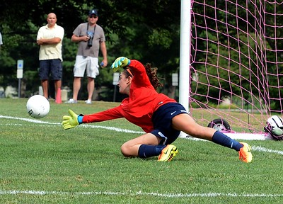 CR North goalie Carly Riggs makes a diving save.