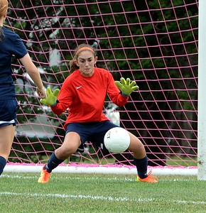 Council Rock North goalie Carly Riggs eyes up a save.