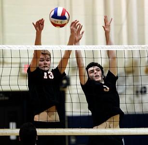 Mason Reilley (13) and James Greenland (3) play tough defense for Falcons.
