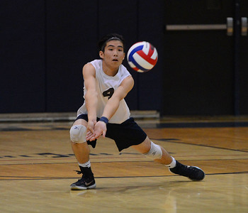 Grant Shieh (4) goes for a dig.