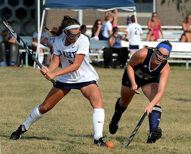 Council Rock North's Tori Wright (#23) defends against Hanna Sullivan (9).
