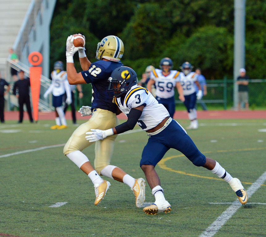 . Andrew Vera (12) hauls in one of his five receptions in season-opening CR South win over Cheltenham Aug. 25, 2017 at CR North, Newtown, Pa.  (John Gleeson � 21st-Century Media)