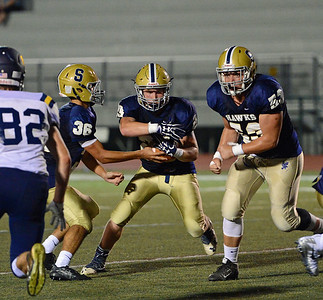 Jake Diaz (29) takes handoff from Matt Checchia (36).