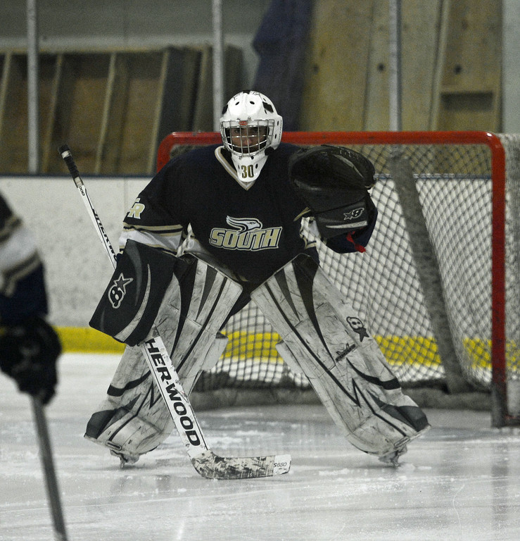 . Mason Procz readies himself in goal.