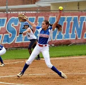 Neshaminy lefthander Sarah Dowalo (24) pitches with Stephanie Andreoli (14) on third.
