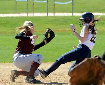 Abington Shortstop applies tag on Delores Bowers (22).