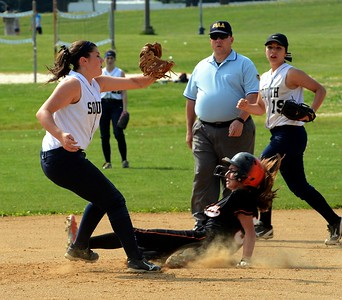 Pennsbury's Carly Parsons (32) beats throw to Phylicia Wilkov (23).