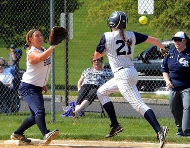 Hannah Stalker (21) beats throw to Lauren Kropp (15).