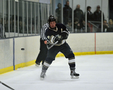 Mike Kauffman (15) flips puck up ice.