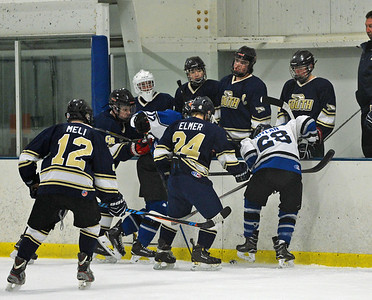 Action gets heated in front of Golden Hawks bench in ice hockey battle with CB South in SHSHL final March 2 at Hatfield Ice, Hatfield, Pa. (John Gleeson – 21st-Century Media)