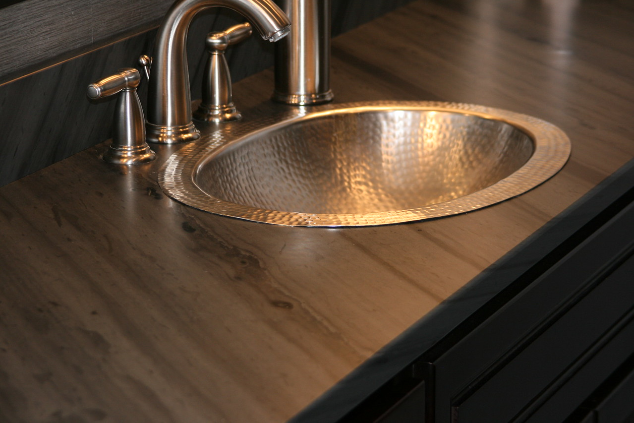 Shadow Gray Honed Top Hammered Nickel Drop In Sink