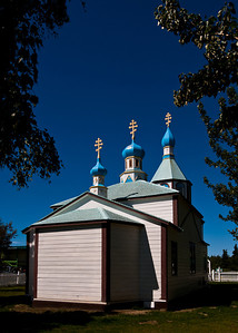 Numerous small Russian villages dot the west coast of the Kenai Peninsula.  Some still have Russian Orthodox Churches.  This one, in Kenai, is designated a National Historic Landmark.