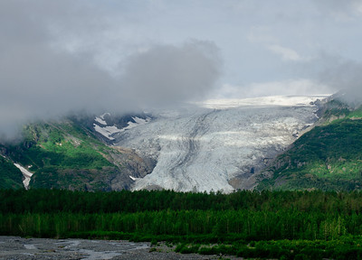 Exit Glacier is one of dozens of glaciers fed by the Harding Icefield.  Originally named Resurrection Glacier, it was renamed when the first mountaineering party to cross the Harding used this glacier to exit the ice field.