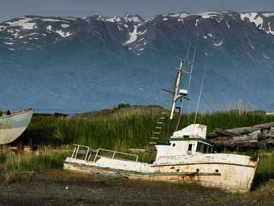 This low spot on the Homer Spit appears to be the final resting place for about 30 abandoned fishing vessels in various states of decay and disrepair.  In some cases, the engines had been removed but other items were left behind.