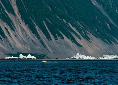 Icebergs in a fresh water lake.