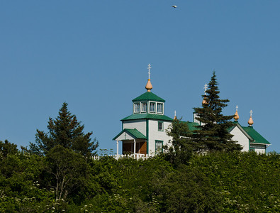 Ninilchik is another tiny Russian Village, situated right on the coast of Cook Inlet.  Atop a hill overlooking the village is this small Orthodox Church.