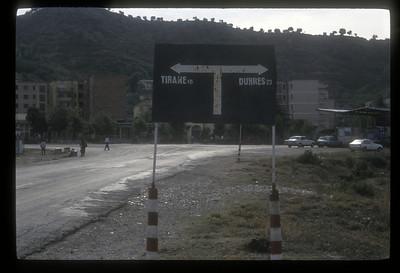 Road sign, Albania.