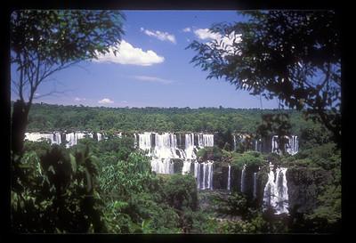 Long view of waterfall, Iguazu Falls National Park, Argentina.