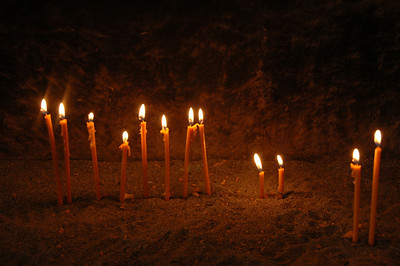 Candles inside Khor Virap Monastery, Armenia.