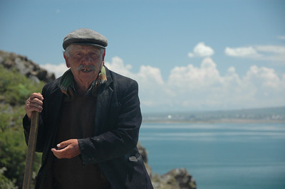Man at Lake Sevan, Armenia.