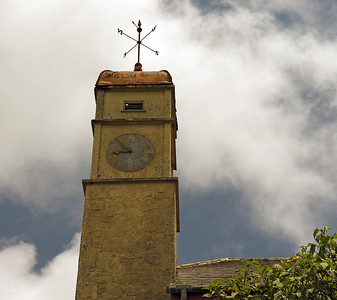 Clock tower at the now abandoned Red Lion, previously the mountain barracks, Green Mountain, Ascension Island.