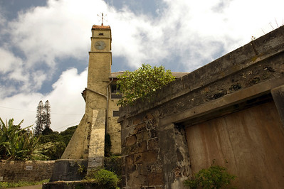 The clock tower of the now abandoned Red Lion, previously the mountain barracks, Green Mountain, Ascension Island.